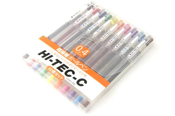 Pilot Hi-Tec-C Gel Ink Pen - 0.4 mm - 10 Pen Gift Set - PILOT LH-200C4-10C