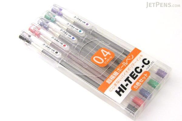 Pilot Hi-Tec-C Gel Pen - 0.4 mm - 5 Pen Gift Set - PILOT LH-100C4-5C