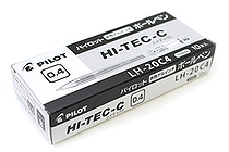 Pilot Hi-Tec-C Gel Pen - 0.4 mm - Black - 10 Pen Set - PILOT LH-20C4-B BOX