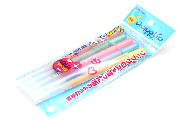 Sakura AquaLip Gel Pen - 0.8 mm - 5 Color Set - SAKURA PGB5G-P