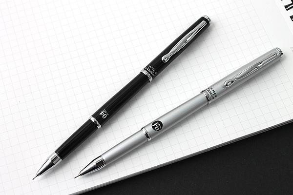 Pilot Hi-Tec-C Cavalier Executive Gel Ink Pen - 0.4 mm - Silver Body - Black Ink - PILOT LCA-1SRC4-S