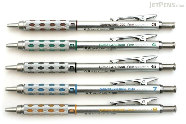 Pentel Graph Gear 1000 Drafting Pencil - 5 Sizes Set - PENTEL PG101X 5SET