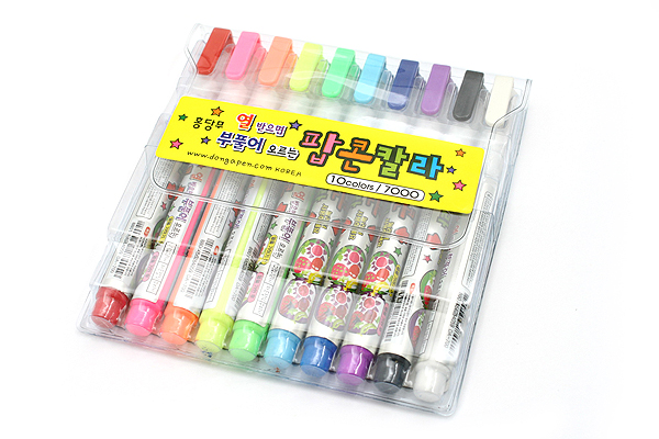 Dong-A Popcorn Puffy Paint Pen - 10 Color Set - DONGA POPCORN 10SET