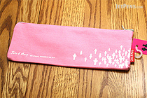 Sura John & Mary Pencil Pouch - Small - White on Pink - SURA PBS912Q