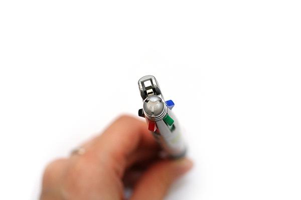 Zebra Clip-On 1000 4 Color 0.7 mm Ballpoint Multi Pen + 0.5 mm Pencil - Silver Body - ZEBRA B4SA2-S