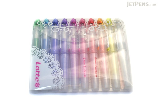 Pilot Latte Gel Ink Pen - 0.5 mm - Pastel Color Series - 10 Color Set - PILOT LLA-120EF-10C