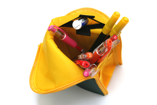 Kokuyo Neo Critz Transformer Pencil Case - Dark Green / Yellow - KOKUYO F-VBF121-3