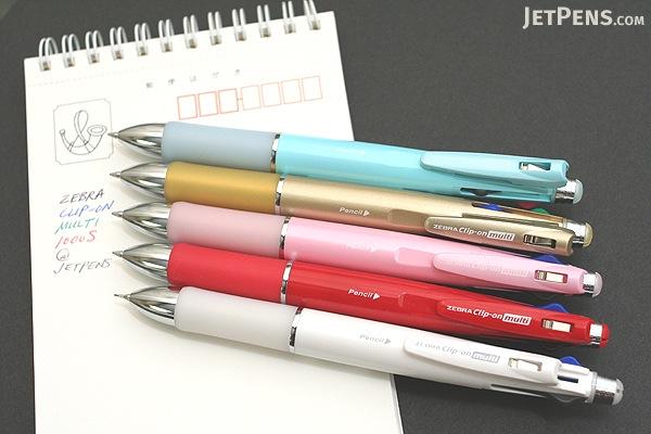 Zebra Clip-On 1000S 4 Color 0.7 mm Ballpoint Multi Pen + 0.5 mm Pencil - Pink Body - ZEBRA B4SA3-P