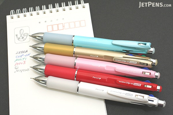 Zebra Clip-On 1000S 4 Color 0.7 mm Ballpoint Multi Pen + 0.5 mm Pencil - Gold Body - ZEBRA B4SA3-GO