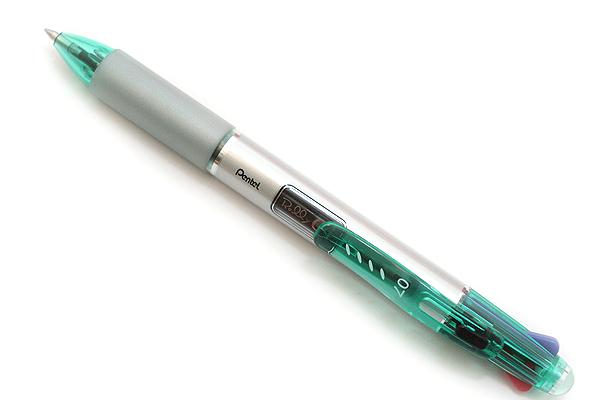 Pentel Rolly C4 4 Color Ballpoint Multi Pen - 0.7 mm - Turquoise Blue Clip - PENTEL BPC47D