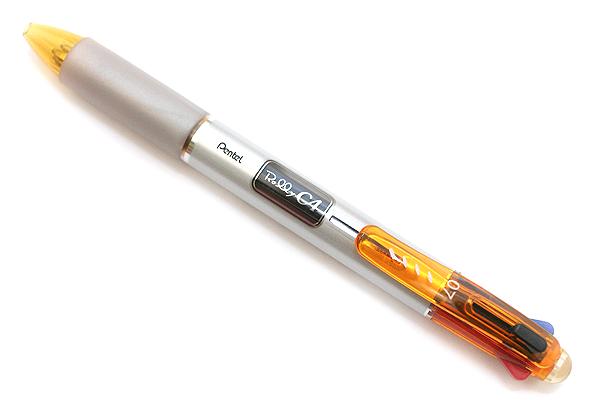 Pentel Rolly C4 4 Color Ballpoint Multi Pen - 0.7 mm - Orange Clip - PENTEL BPC47F