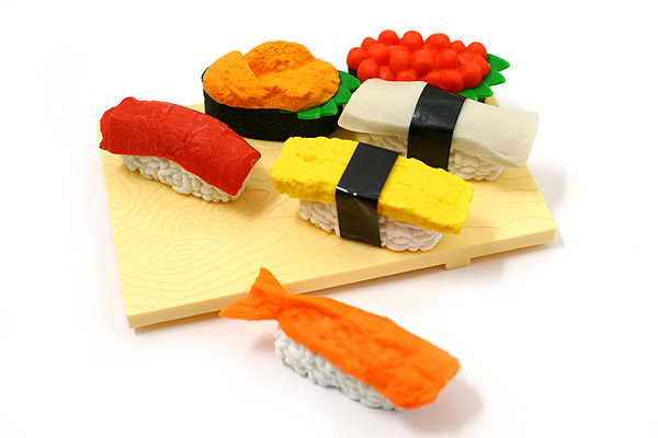 Iwako Sushi on Cutting Board Novelty Eraser - 6 Piece Set - IWAKO ER-961082