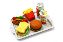 Iwako American Fast Food on Tray Novelty Eraser - 6 Piece Set - IWAKO ER-961099