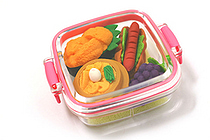 Iwako Box Set - Sushi Bento Box Novelty Eraser - Small Pink Box - Assorted 4 Piece Set - IWAKO ER-981059 P