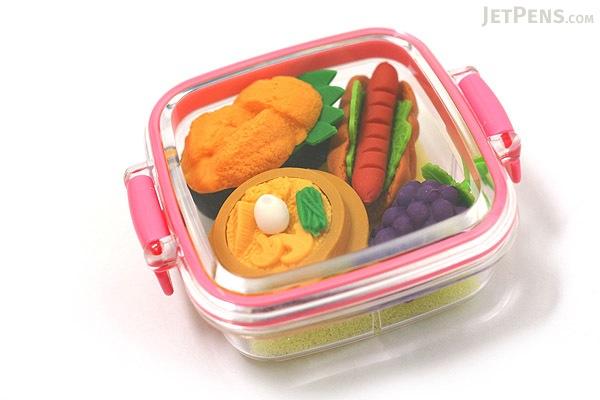 Iwako Box Set - Sushi Bento Box Novelty Eraser - Small Pink Box - Assorted 4 Piece Set - IWAKO ER-981059 P