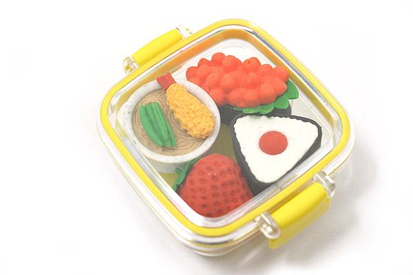 Iwako Box Set - Sushi Bento Box Novelty Eraser - Small Yellow Box - Assorted 4 Piece Set - IWAKO ER-981059 Y
