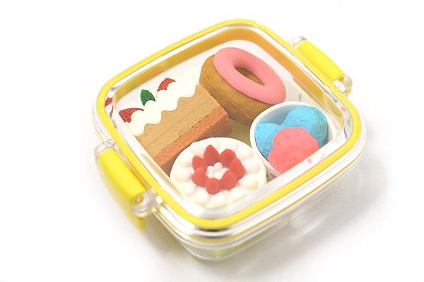 Iwako Box Set - American Food Box Novelty Eraser - Small Yellow Box - Assorted 4 Piece Set - IWAKO ER-981066 Y