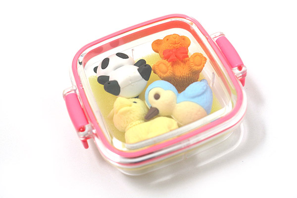 Iwako Box Set - Animal Friends Eraser - Small Pink Box - Assorted 4 Piece Set - IWAKO ER-981073 P