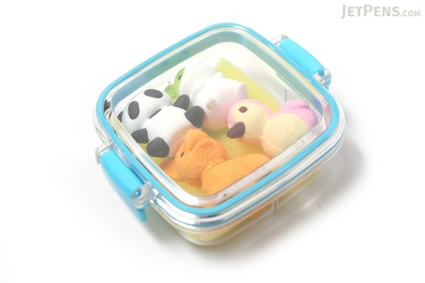 Iwako Box Set - Animal Friends Eraser - Small Blue Box - Assorted 4 Piece Set - IWAKO ER-981073 B