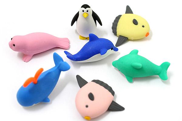 Iwako Dolphin & Whale Friends Novelty Eraser - Assorted 7 Piece Set - IWAKO ER-BRI010