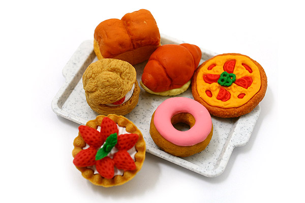 Iwako Pastry on Tray Novelty Eraser - 6 Piece Set - IWAKO ER-BRI011