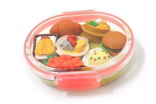 Iwako Box Set - Sushi Bento Box Novelty Eraser - Large Pink Box - Assorted 7 Piece Set - IWAKO ER-PUC002 P