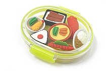 Iwako Box Set - Sushi Bento Box Novelty Eraser - Large Yellow Box - Assorted 7 Piece Set - IWAKO ER-PUC002 Y