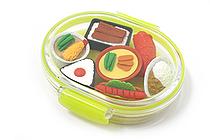 Iwako Box Set - Sushi Bento Box Novelty Eraser - Large Yellow Box - Assorted 7 Piece Set - IWAKO ER-PUC002 Y
