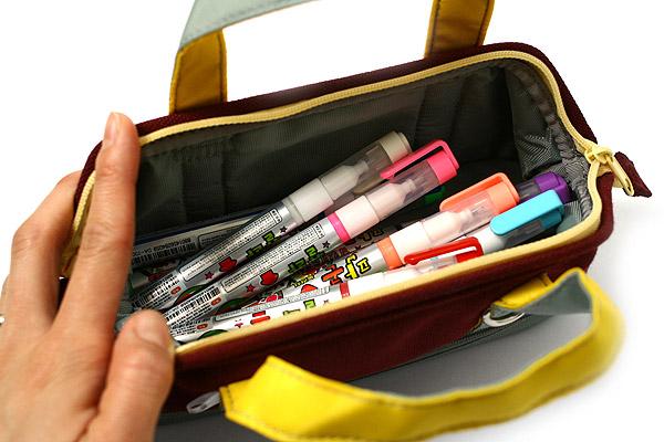 Kokuyo Capara Mega Pencil Case - Wine Red - KOKUYO F-VBF120-2