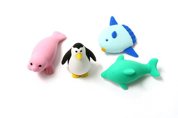 Iwako Box Set - Dolphin & Whale Friends Novelty Eraser - Small Pink Box - Assorted 4 Piece Set - IWAKO ER-981202 P