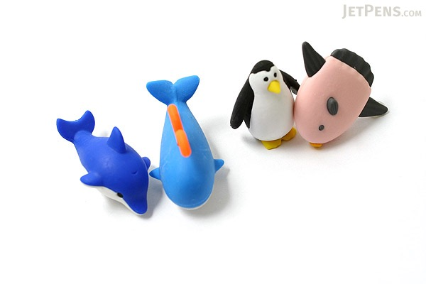 Iwako Box Set - Dolphin & Whale Friends Novelty Eraser - Small Blue Box - Assorted 4 Piece Set - IWAKO ER-981202 B