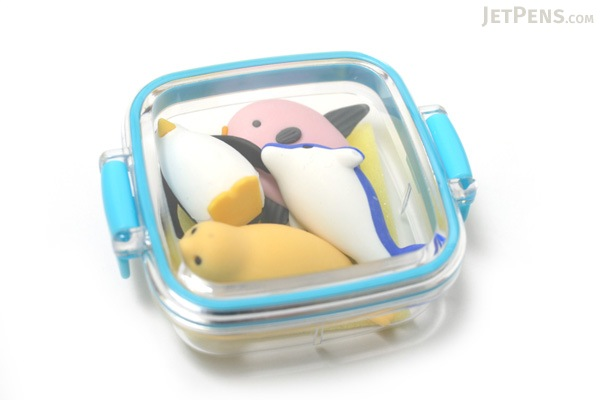 Iwako Box Set - Dolphin & Whale Friends Novelty Eraser - Small Blue Box - Assorted 4 Piece Set - IWAKO ER-981202 B