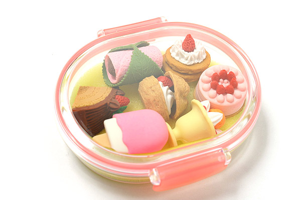 Iwako Box Set - American Food Box Novelty Eraser - Large Pink Box - Assorted 7 Piece Set - IWAKO ER-PUC001 P