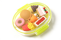 Iwako Box Set - American Food Box Novelty Eraser - Large Yellow Box - Assorted 7 Piece Set - IWAKO ER-PUC001 Y