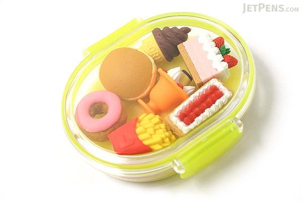 Iwako Box Set - American Food Box Novelty Eraser - Large Yellow Box - Assorted 7 Piece Set - IWAKO ER-PUC001 Y