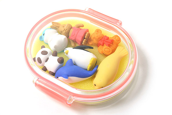 Iwako Box Set - Animal Friends Eraser - Large Pink Box - Assorted 7 Piece Set - IWAKO ER-PUC003 P
