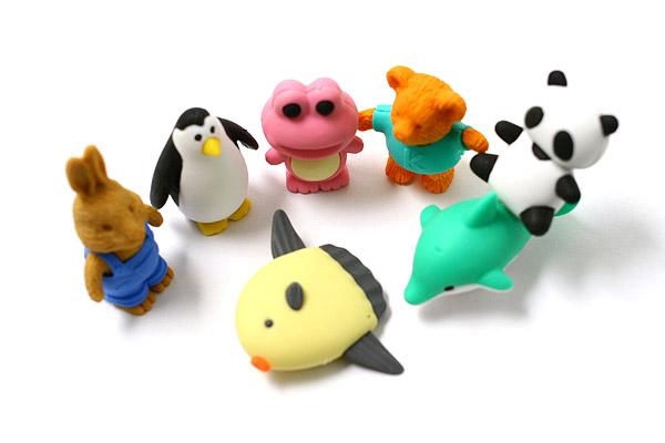 Iwako Box Set - Animal Friends Eraser - Large Yellow Box - Assorted 7 Piece Set - IWAKO ER-PUC003 Y