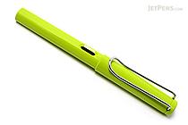 Lamy Fountain Pen - Safari Model - Fine Nib - Lime Green Body & Chrome Clip - LAMY L13LF