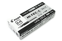 Pilot Hi-Tec-C Gel Pen with Grip - 0.4 mm - Black - 10 Pen Set - PILOT LHG-20C4-B BOX