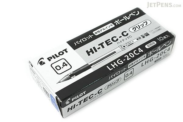 Pilot Hi-Tec-C Gel Pen with Grip - 0.4 mm - Blue - 10 Pen Set - PILOT LHG-20C4-L BOX