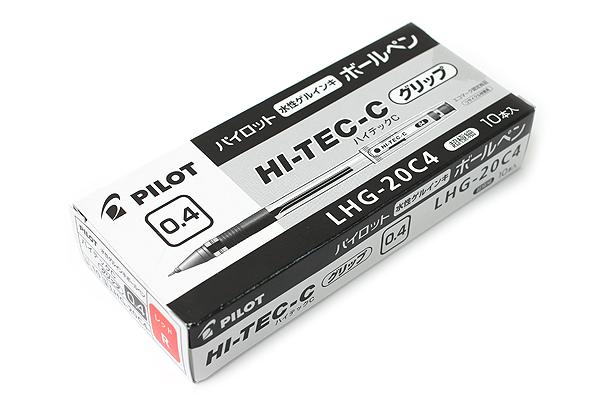 Pilot Hi-Tec-C Gel Pen with Grip - 0.4 mm - Red - 10 Pen Set - PILOT LHG-20C4-R BOX