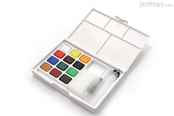 Sakura Koi Watercolor Field Sketch Box Set - 12 Color Palette + Water Brush - SAKURA XNCW-12H