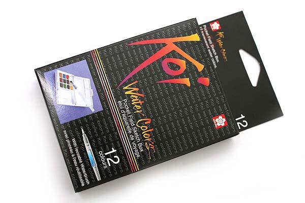 Sakura Koi Watercolor Field Box Set - 12 Color Palette + Water Brush - SAKURA XNCW-12H