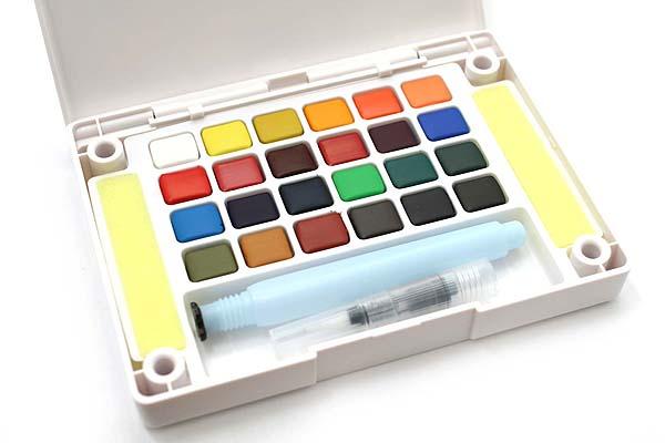 Sakura Koi Watercolor Field Box Set - 24 Color Palette + Water Brush - SAKURA XNCW-24N