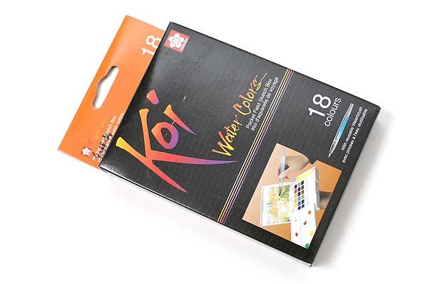 Sakura Koi Watercolor Field Box Set - 18 Color Palette + Water Brush - SAKURA XNCW-18N