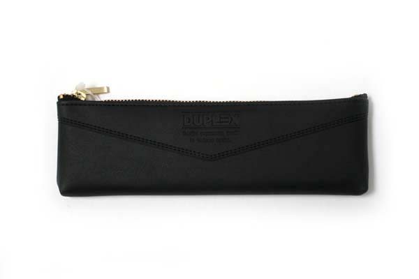 Kutsuwa Duplex Synthetic Leather Pencil Case - Black - KUTSUWA AK019A