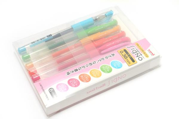 Uni-ball Signo UM-151 Gel Ink Pen - 0.38 mm - 6 Color Set - UNI UM1516C