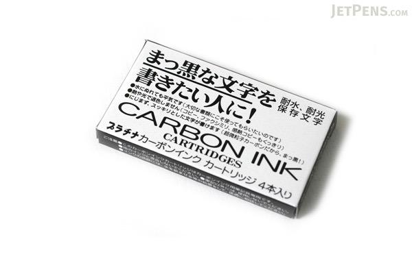 Platinum Carbon Pen Ink Cartridge - Pack of 4 - Black - PLATINUM SPC-200