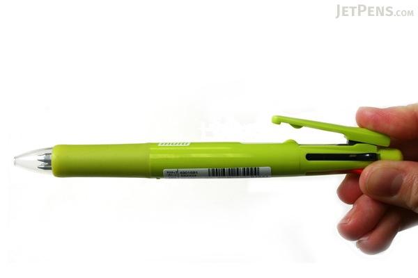 Zebra Clip-On Multi F Series 4 Color 0.7 mm Ballpoint Multi Pen + 0.5 mm Pencil - Active Green Body - ZEBRA B4SA1-ACG