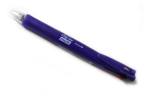 Zebra Clip-On Multi F Series 4 Color 0.7 mm Ballpoint Multi Pen + 0.5 mm Pencil - Elegant Violet Body - ZEBRA B4SA1-EVI